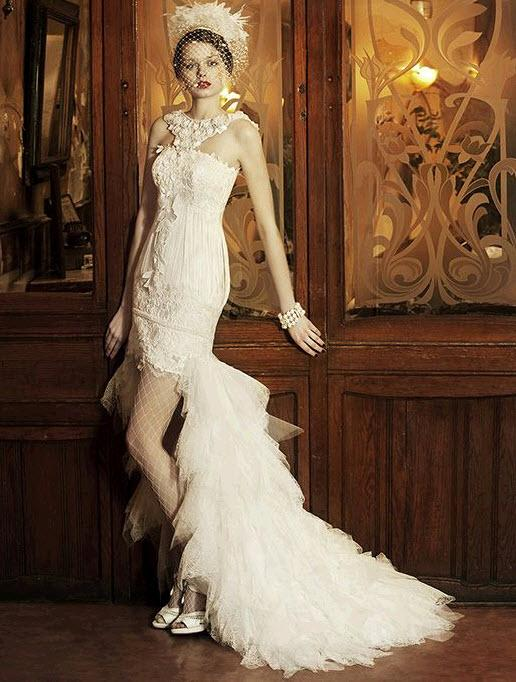 2013 Short Wedding Dresses with Long Trains
