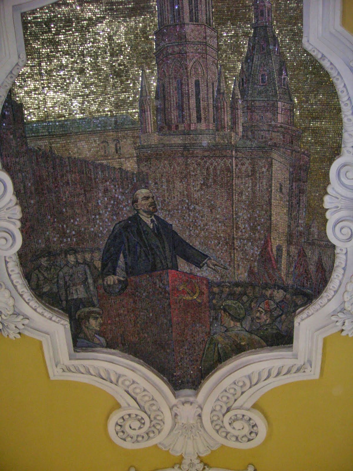 Metro ceiling decoration of Lenin.