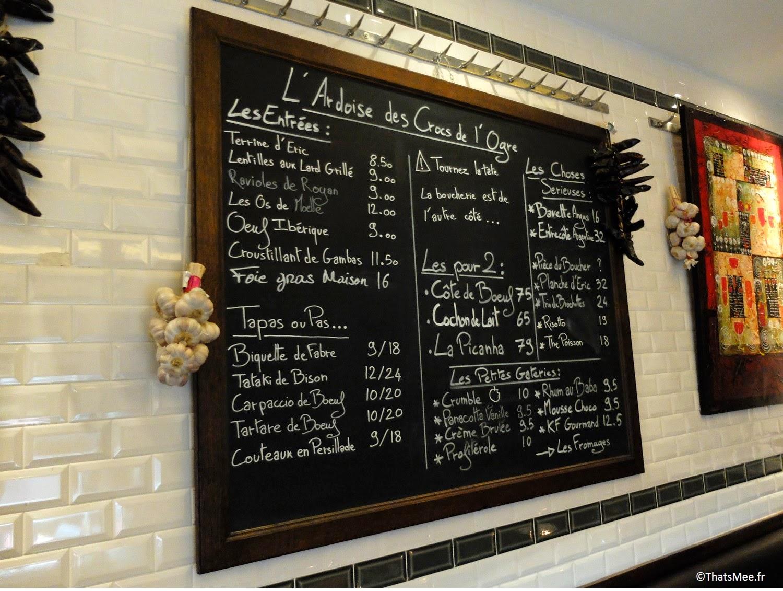 Menu Restaurant viande carnivore Les Crocs de L'ogre Paris 7 Ecole militaire boucherie viandards