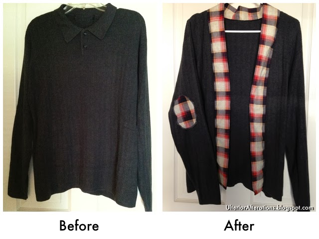 Ulterior Alterations Refashioned Dark Grey & Plaid Sweater