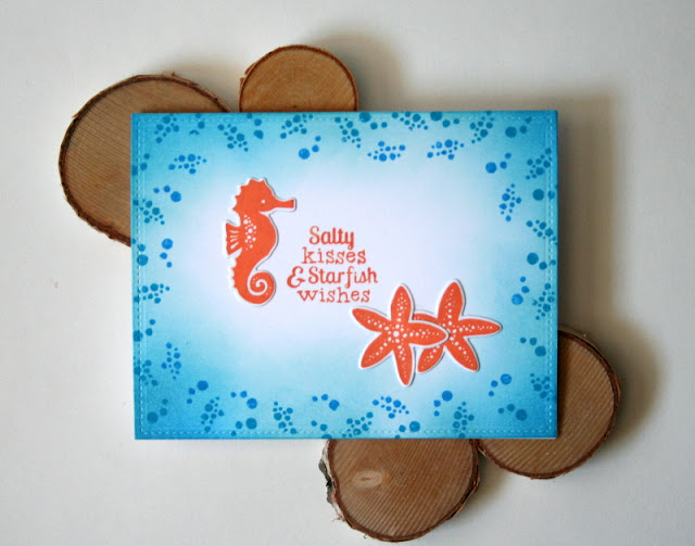 Blue and Orange Ocean Love Card featuring Newton's Nook Designs Tranquil Tides