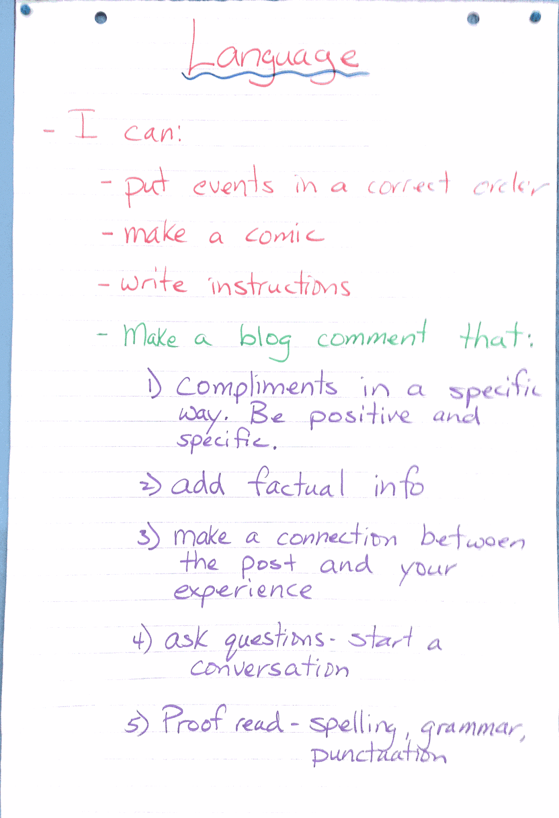 Mr pouliots classroom blog how to write a blog comment here is a picture of the anchor chart we have in our class to remind how to make a good blog comment nvjuhfo Images
