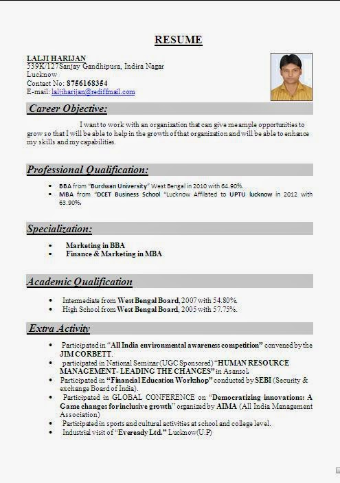 Resume format for mba fresher in finance