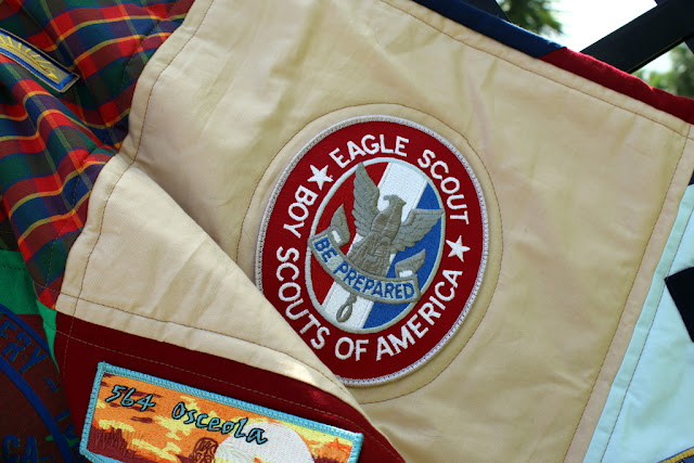 Boy Scout memory Quilt, given at Eagle Scout ceremony, great way to display saved scouting memorabili, pins, uniforms, and badges