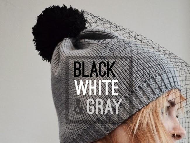 black white & gray accessories - veil beanie