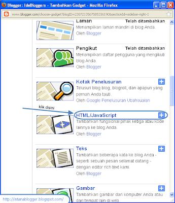 menu pop-up menambahkan gadget - cara menambah widget