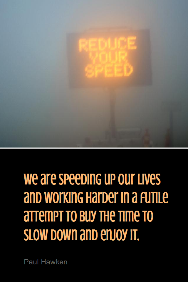 visual quote - image quotation for LIFE - We are speeding up our lives and working harder in a futile attempt to buy the time to slow down and enjoy it. - Paul Hawken
