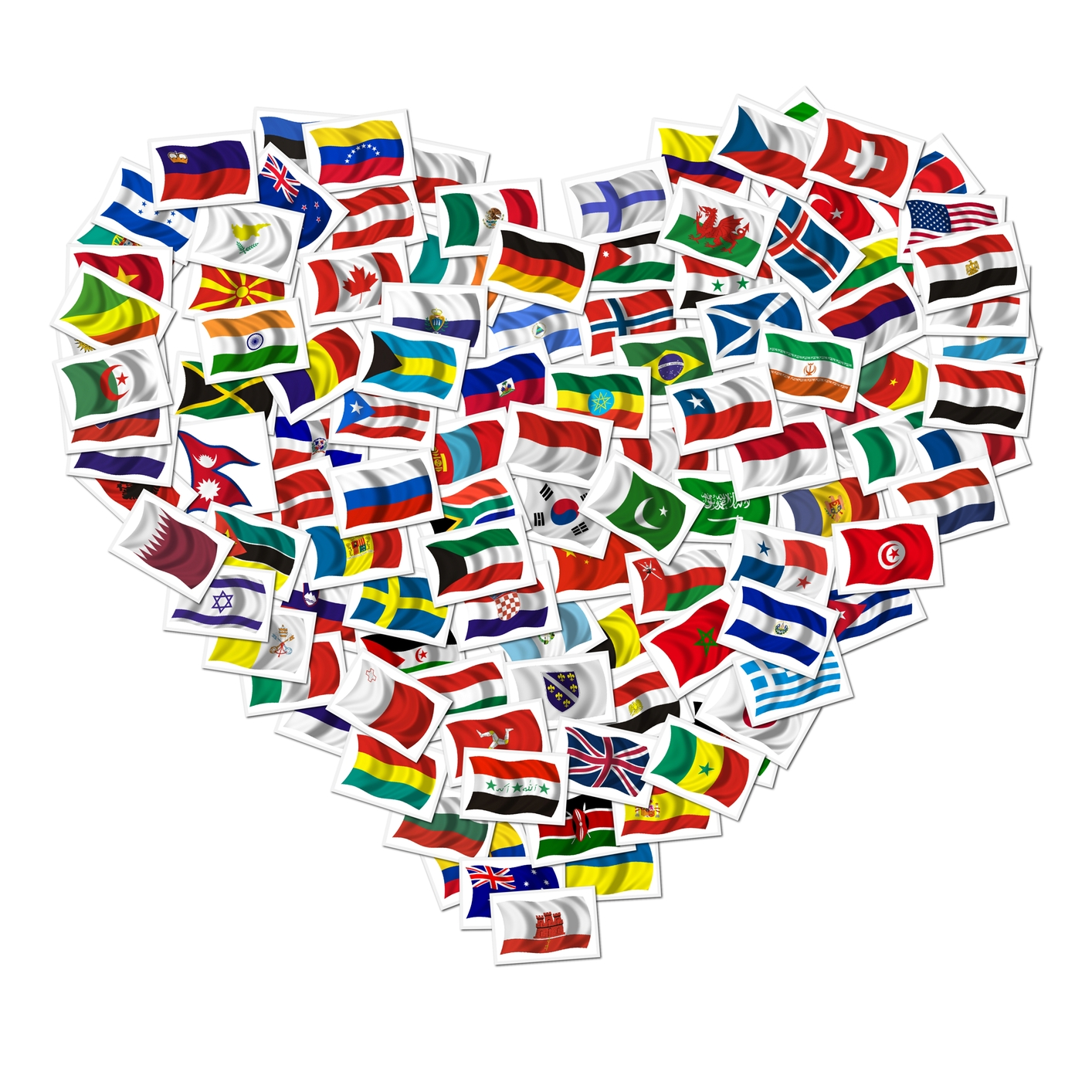 All countries flag in heart shape flags of all countries