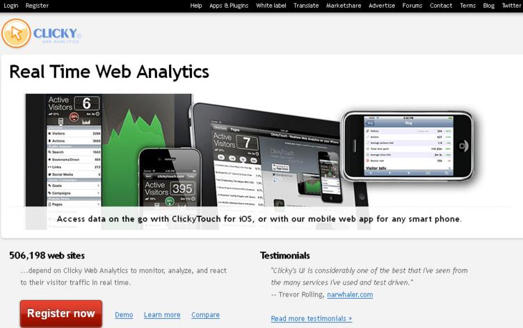 Clicky Web Analytics tool