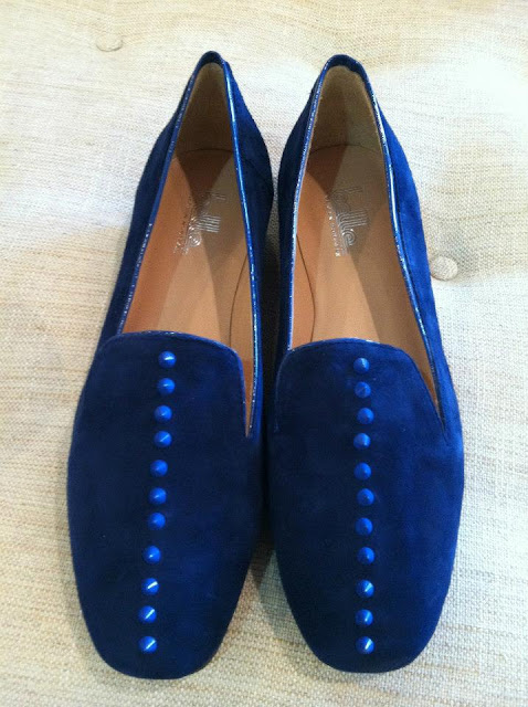 Belle Romona Loafer Cobalt Studded Suede Shoe