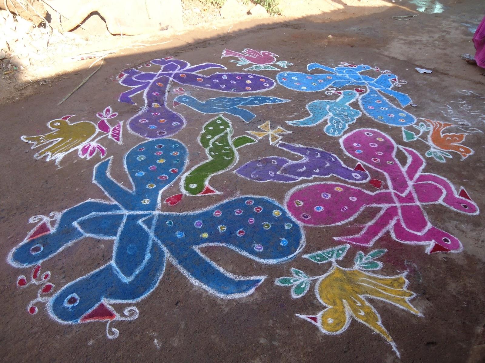 Beautiful Kolam and Painting: Peacock Kolam