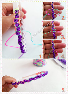 How to make Rhinestone Headband by using Paracord technique