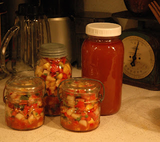 Mango salsa and vegetable stock