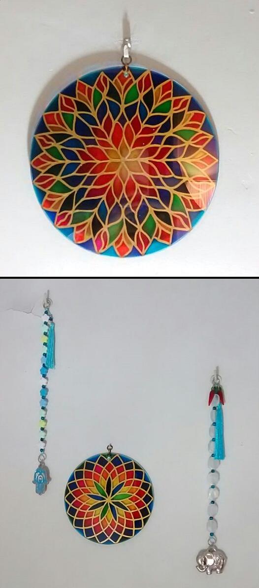 Mandalas decorativas com 23 cm de diâmetro