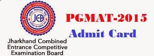 JCECEB PGMAT 2015 Admit card