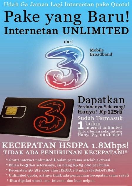"""Paket internet three unlimited bulanan dan Cara Daftar Paket Internet """"Three"""" Unlimited, Ruguler dan Paket Always ON (AON)"""