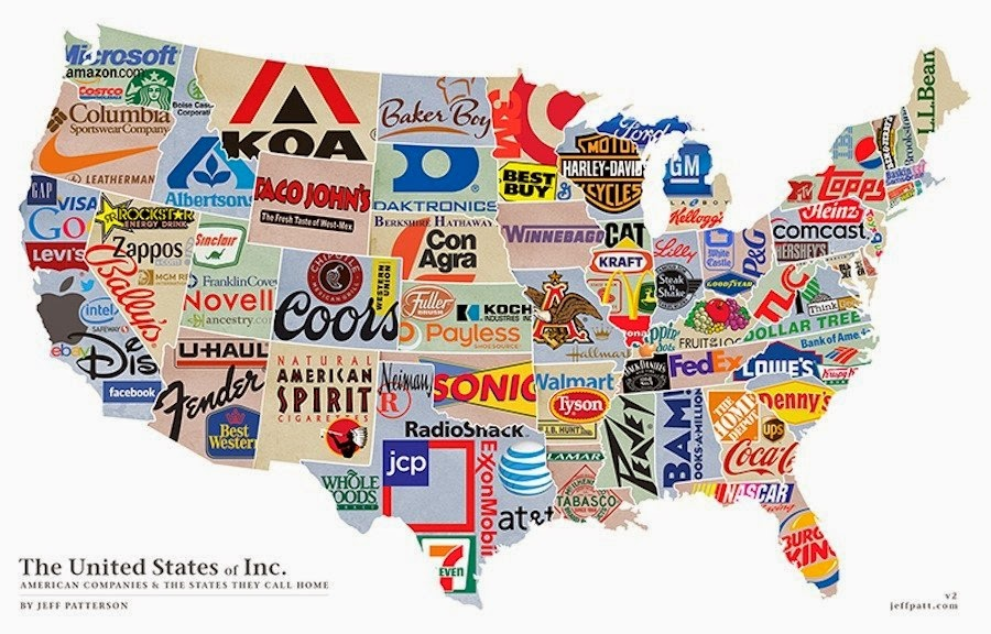 U S Map Reflecting A Major Company Originating From Each State