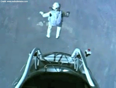 LIVE VIDEO - Mission To The Edge of Space –  Jumping From Capsule (2) 10-14-12