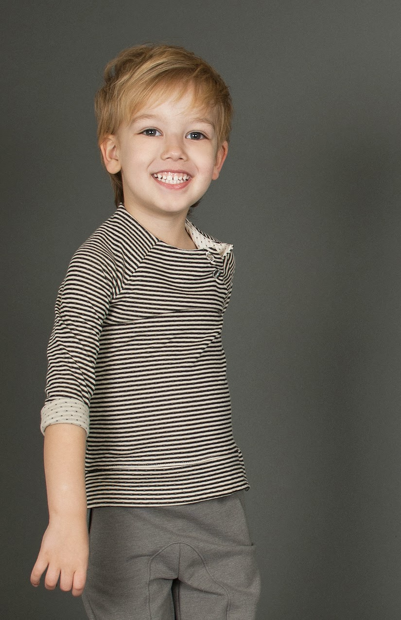 Double sided jersey with stripes and dots by Omamini for Autumn/Winter kidswear collection