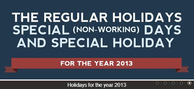 Philippines Holidays 2013 – Regular Holidays, Special (Non-Working
