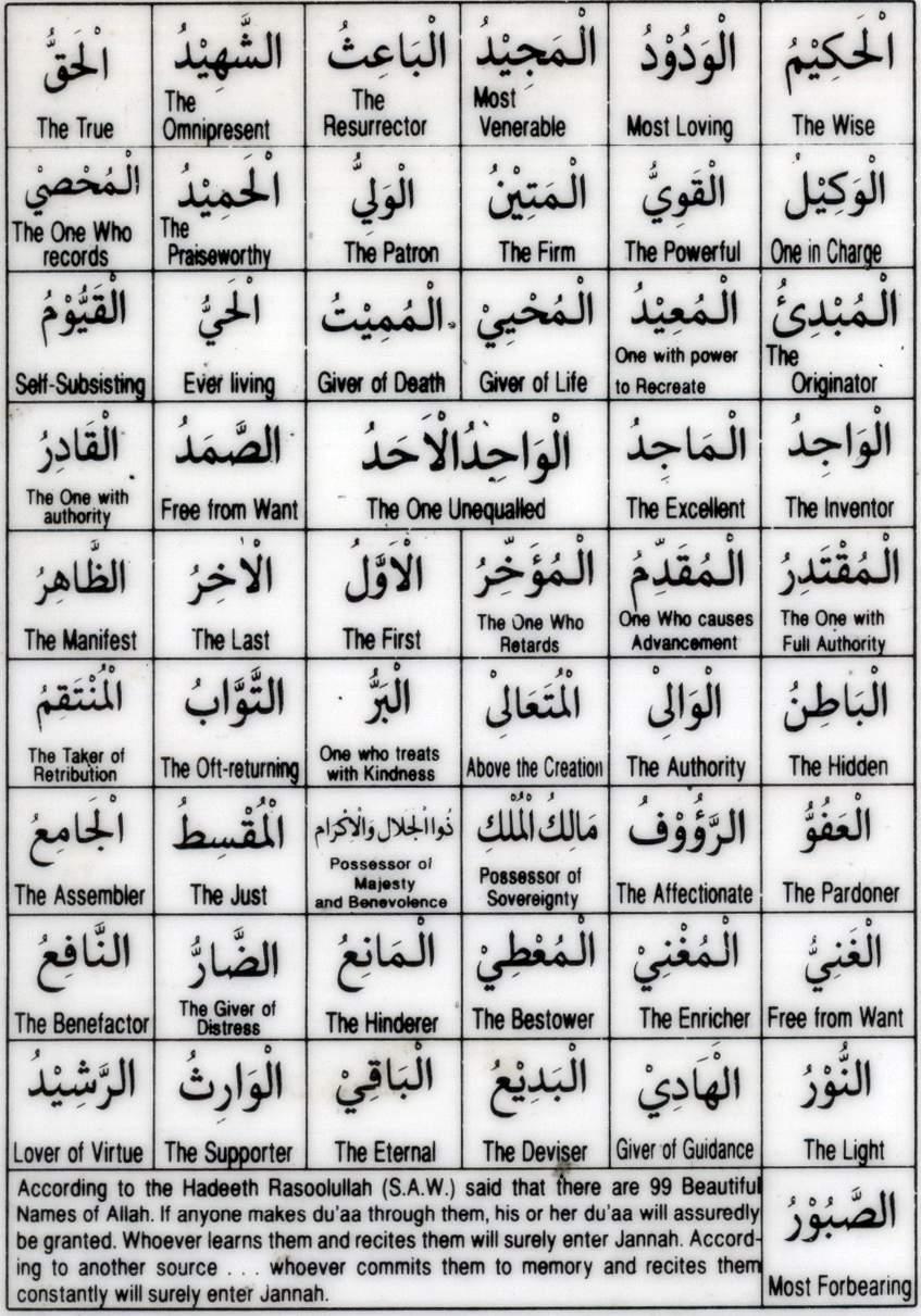 Doorway To Heaven 99 Names Of Allah Swt Asma Ul Husna