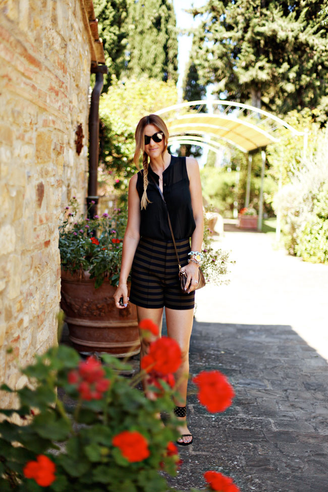 San Gimignano, Zara Stipe Shorts, Louis Vuitton Eva Clutch, Anine Bing Studded Sandals, Summer Outfit, Summer Style, Madewell Sleeveless Blouse, John Ruvin Sunglasses, La Canonica Di Cortine, Cortine, Tuscany, What to wear in Italy