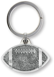 Memorial Key Fob in Football Shape with Fingerprint