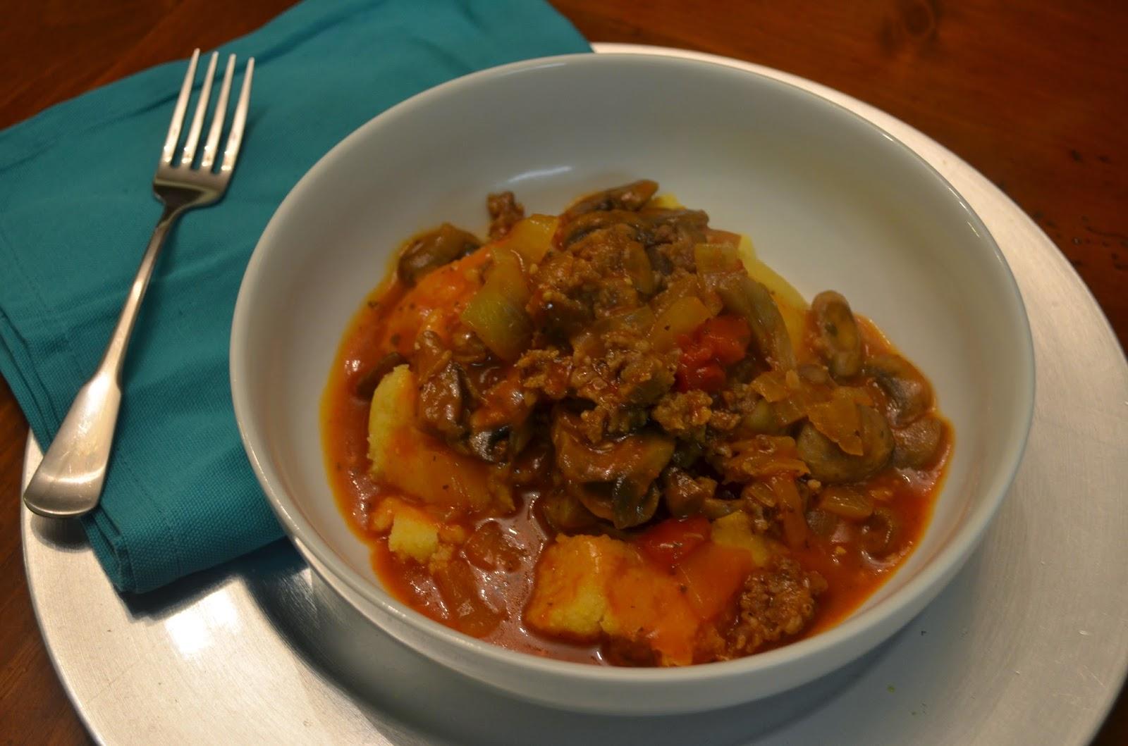 Member Fave: Mushroom & Sausage Ragu over Polenta from Food Ramblings #recipe #SecretRecipeClub #maindish #sausage