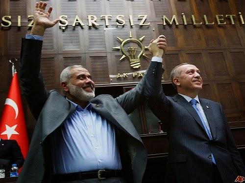 Erdogan dan Ismail haniyah (arsip AP)