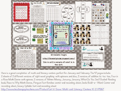 http://www.teacherspayteachers.com/Product/Let-it-Snow-Math-and-Literacy-Centers-K-2-179367