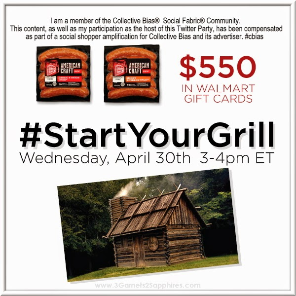 Hillshire #StartYourGrill Twitter party plus $550 in Walmart gift cards on #SoFabChats Weds (4/30) at 3pm EST! #shop #cbias