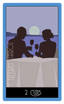 two of cups tarot of silhouettes