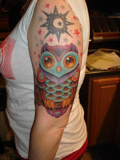 Owl and Star Tattoo Design on Arms