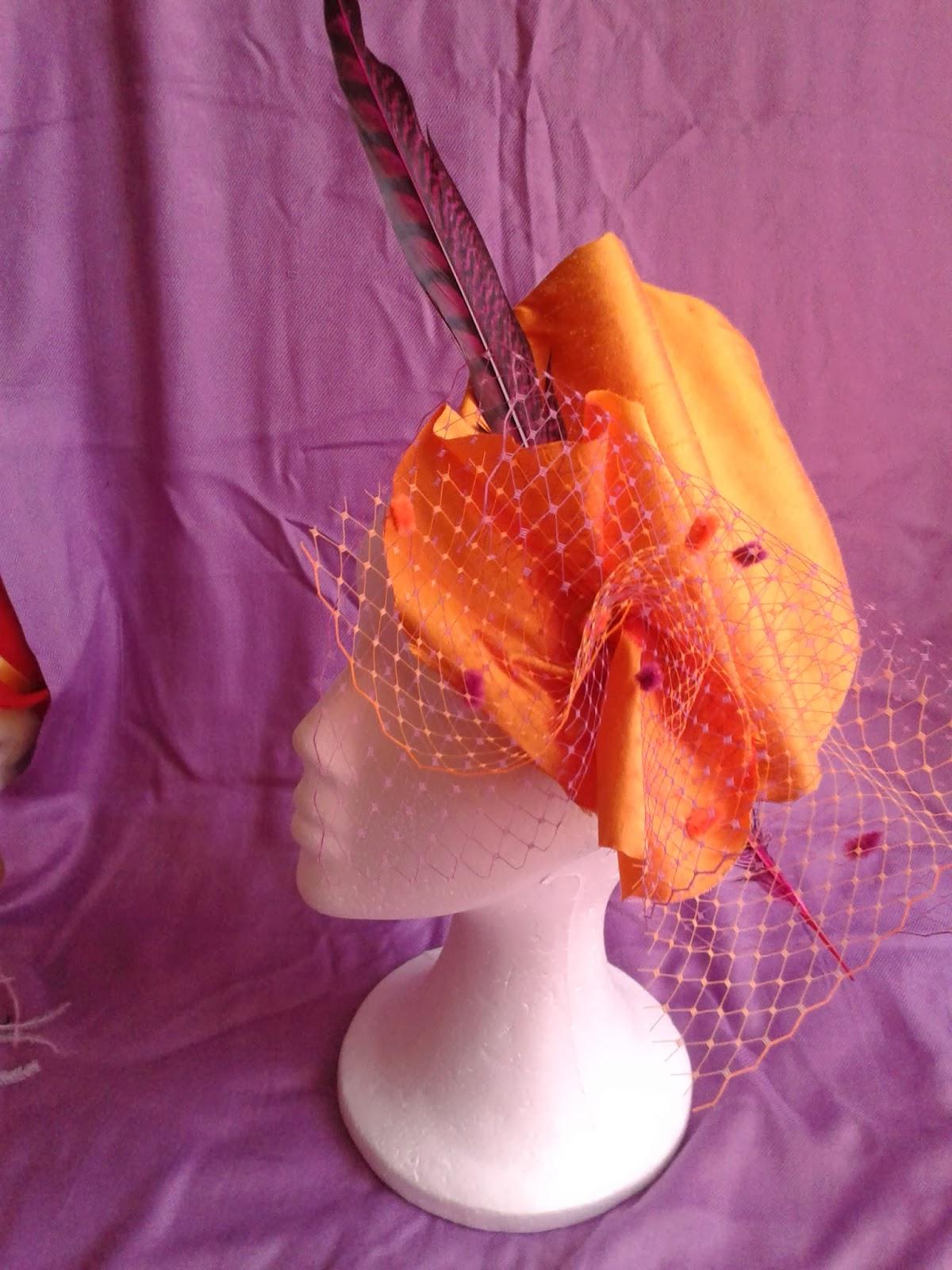 tocado para boda, tocado económico, tocados, tocados baratos, tul, naranja, fuxia, pluma de faisán