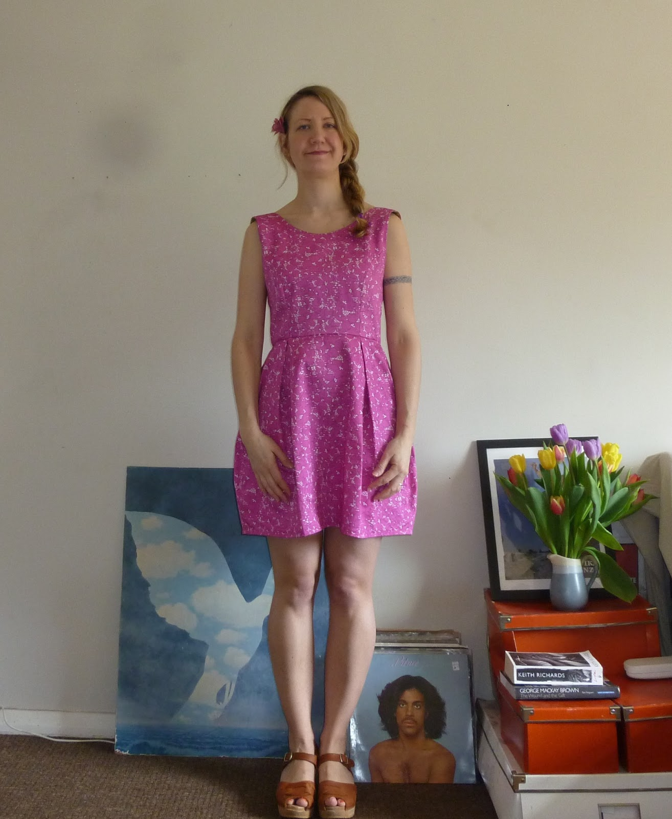 Photograph of me wearing new me-made By Hand London Elisalex dress in Liberty fabric