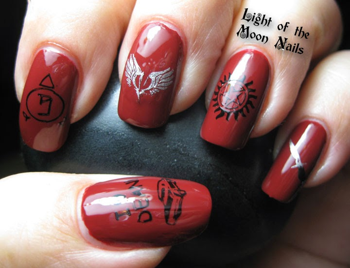 Light of the moon nails falling through the rainbow red art and i am a huge supernatural fan you know the show with the two hottest brothers on tv prinsesfo Gallery