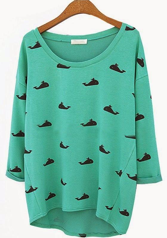 green whale print round neck cotton blend t-shirt, CiChic.com