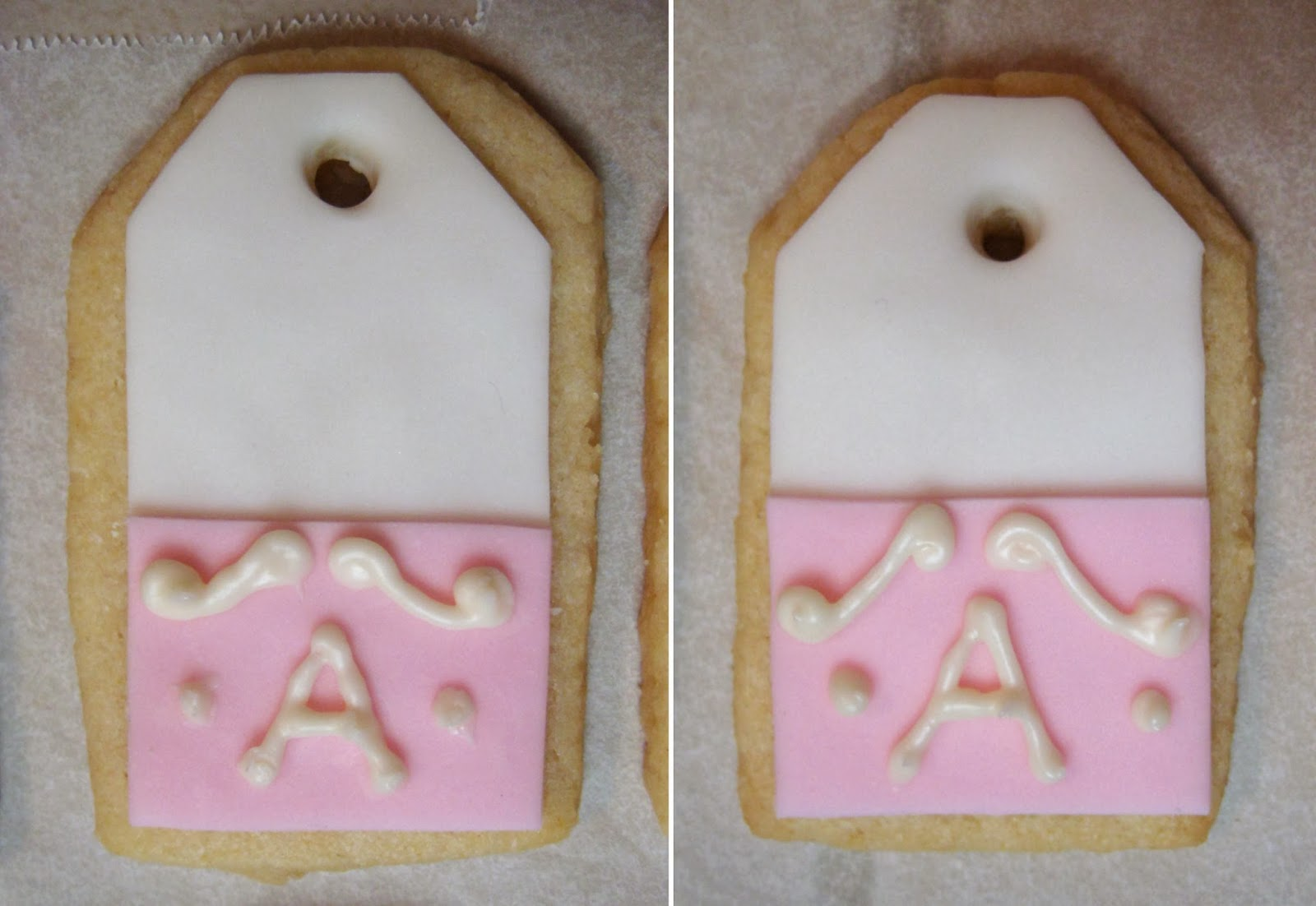 Shabby Chic Baby Shower Pink Teabag Cookies - Close-Ups of Two Cookies