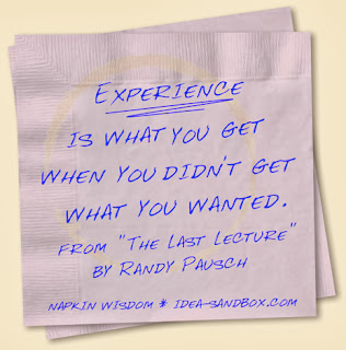 Experience is what you get when you didn't get what you wanted.