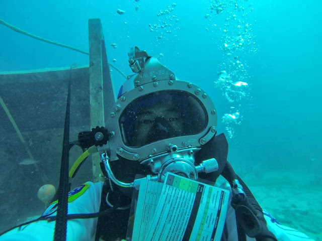 Japanese astronaut Soichi Noguchi during  NASA's underwater testbed for working in space, Seatest. Credit: Soichi Noguchi