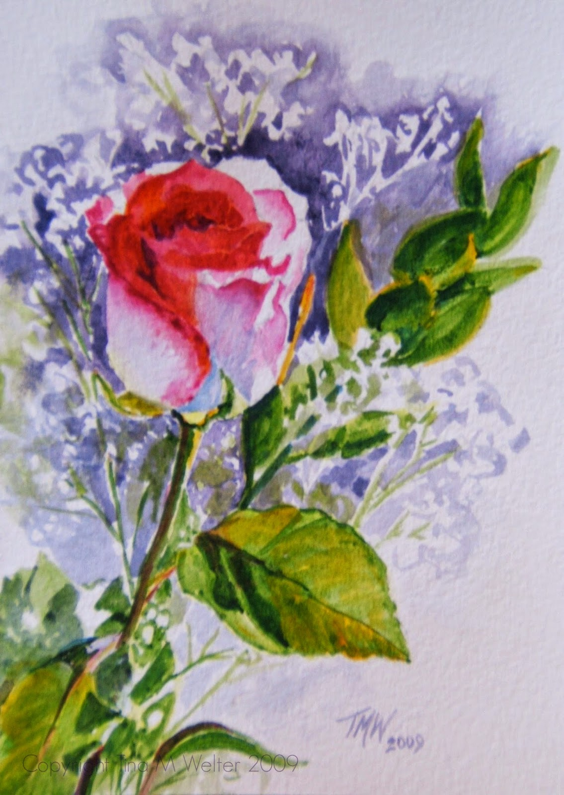 """Rose for Carol"" 7""x 5"" watercolor on paper, copyright Tina M Welter 2009"