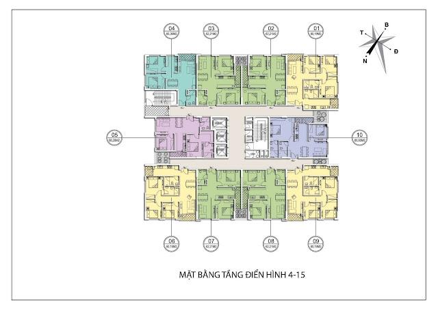 Mặt bằng căn hộ tầng 4-15 tòa A chung cư Valencia Garden