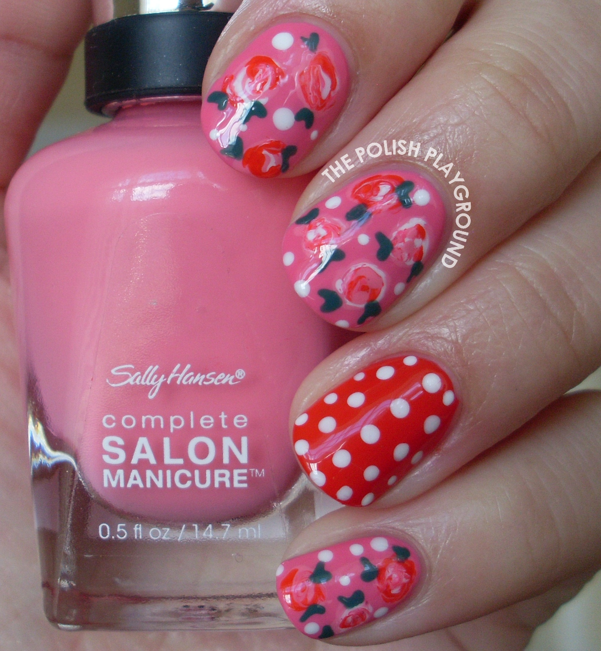 Romantic Roses with Polka Dots Nail Art