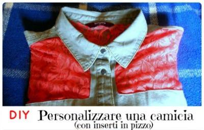 tutorial diy camicia con inserti di pizzo di Miria