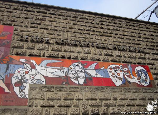 Ivry-Sur-Seine - Centre medico-social Municipal  Architecte: ?  Construction: 1962  Céramique: J. Dutil et R. Memin     Le Centre medico-social et la cité H.L.M. Maurice-Thorez (architectes: Henri et Robert Chevallier - 1952-1953) en avril 1964.