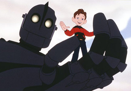 The giant holding Hogarth in his hand in The Iron Giant