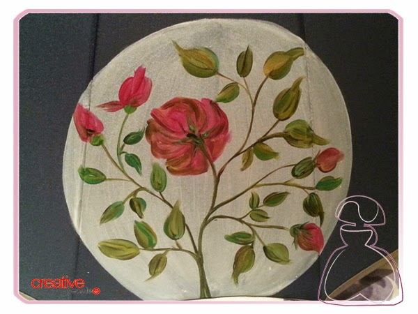 Paraguas pintado a mano por Sylvia Lopez Morant modelo Rosas Nacaradas