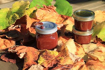 Jars of Concord Grape Jam on Colored Grape Leaves