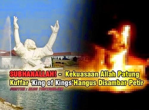 VIDEO Kekuasaan Allah Patung Kuffar terbakar disambar Petir