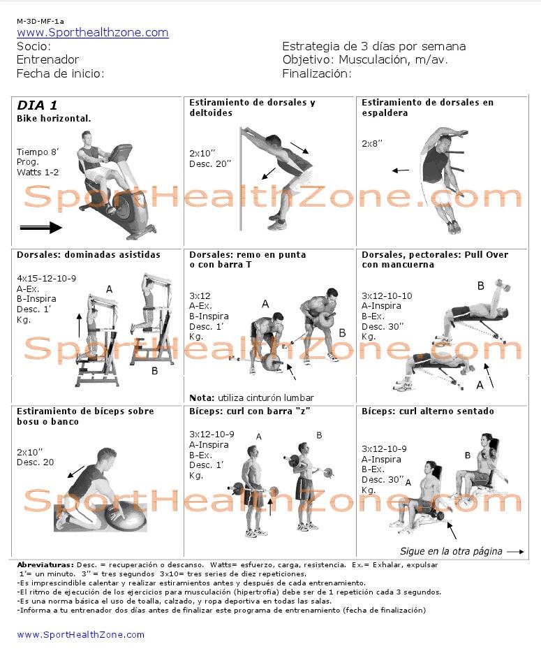 Rutinas de ejercicios entrenamiento fitness pesas for Gimnasio las tablas